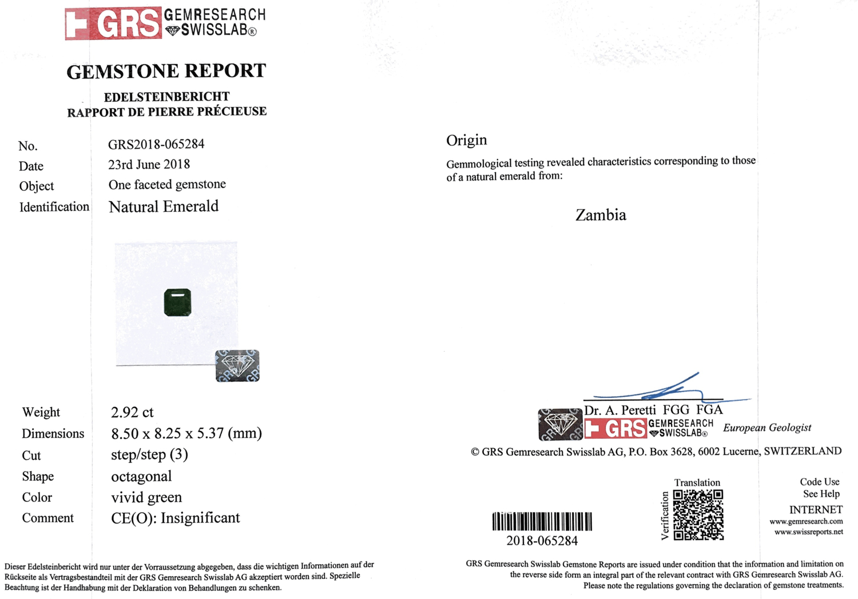 Wonderful emerald from Zambia 2.92 ct купить